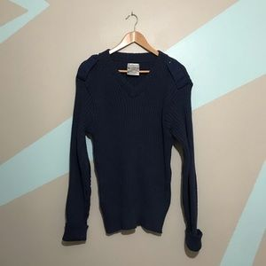 VINTAGE Navy V-Neck Sweater with  Elbow Patches 44